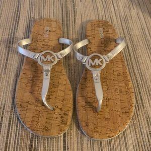 Michael Kors Size 11 Silver Jelly Cork Sandals